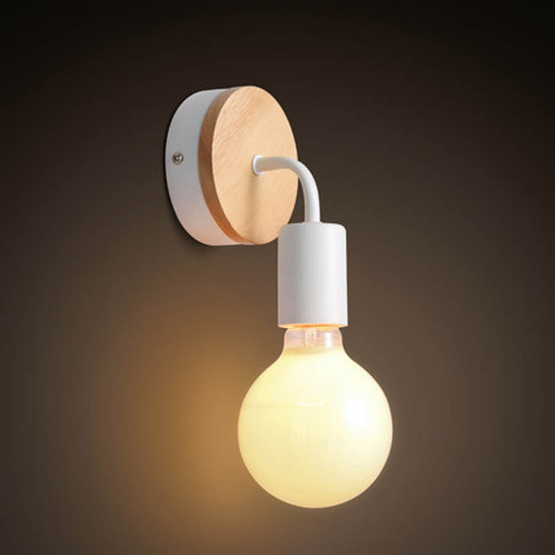 Nordic Modern Brief Personally Vintage Ameican Industrial Wood Iron Edison Wall Sconce Lamp Bathroom Mirror Home Decor Lighting