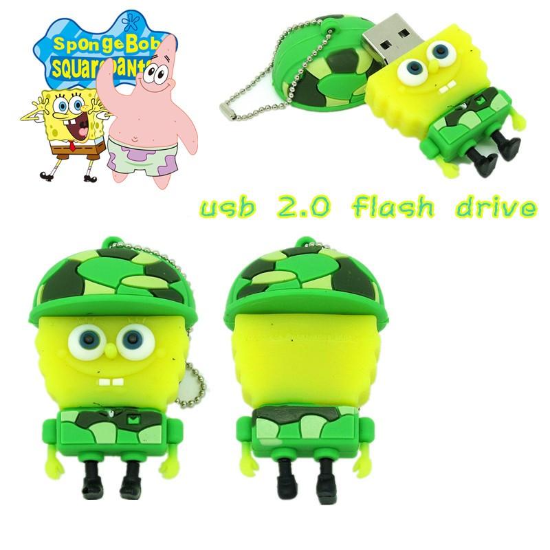 New arrival cute Soldier SpongeBob USB Flash drive 4gb/8gb/16gb/32gb pen  drive real capacity usb2 0 cartoon memory stick