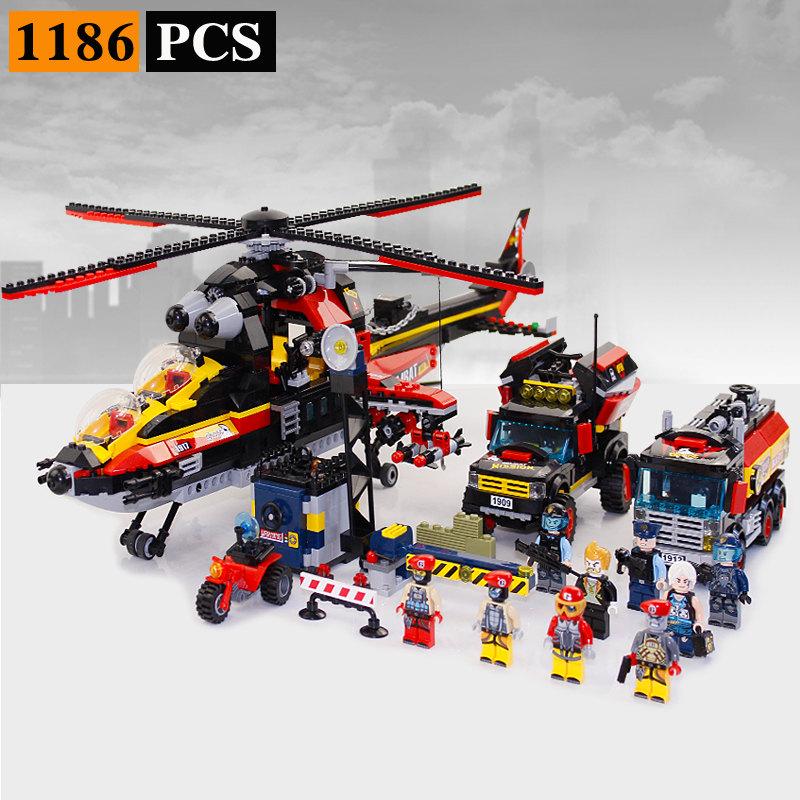 Обучающие строительные блоки для полиции, игрушки для детей, подарки, городской герой, автомобиль, лодка, вертолет, оружие, совместимо с Legoe(Китай)