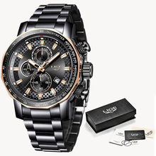 Модные мужские часы LIGE класса люкс из нержавеющей стали водонепроницаемые кварцевые часы для мужчин Топ бренд бизнес хронограф Relogio Masculino(Китай)