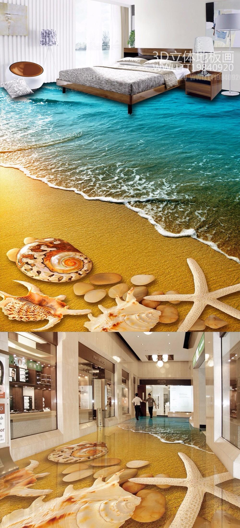 Free Shipping 3D Beach Shell floor painting kitchen living room restaurant  hallway decoration wear PVC floor wallpaper mural - us400 f5dfe151801f