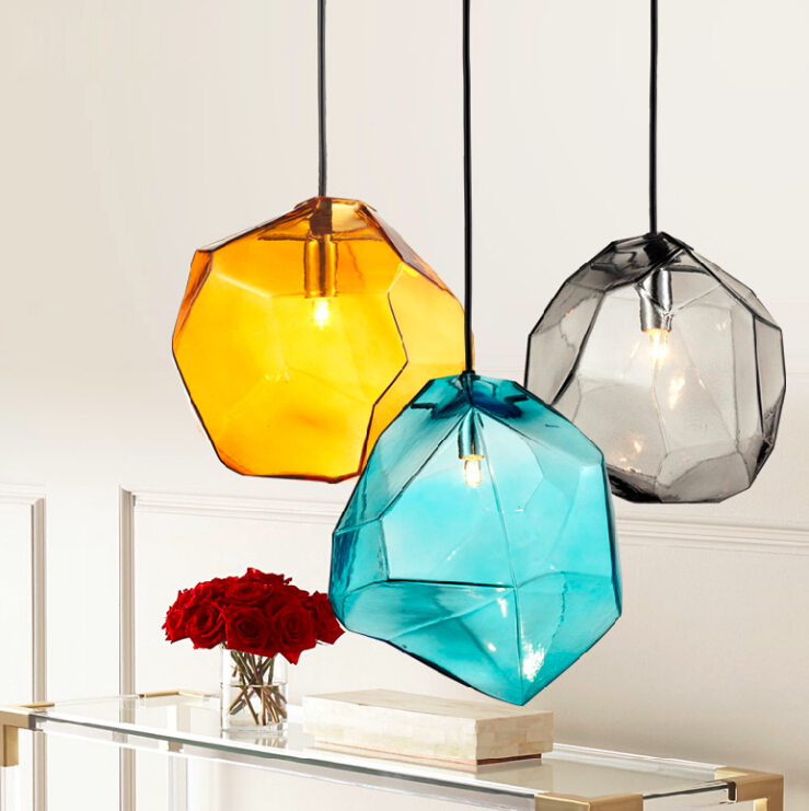 ice cube pendant lamp polygon glass stone colorful pendant light ...