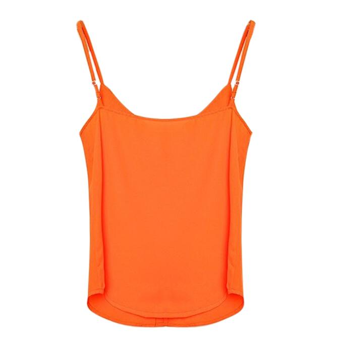 Сзс горячая мода женщины шифон рукавов рубашки жилет жилет топы блузка жилет оранжевый XXXL