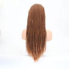 Rongduoyi термостойкие синтетические волосы на кружеве оплетенные парики для женщин коричневый/черный цвет Длинные косички косплей парик с вол...(Китай)