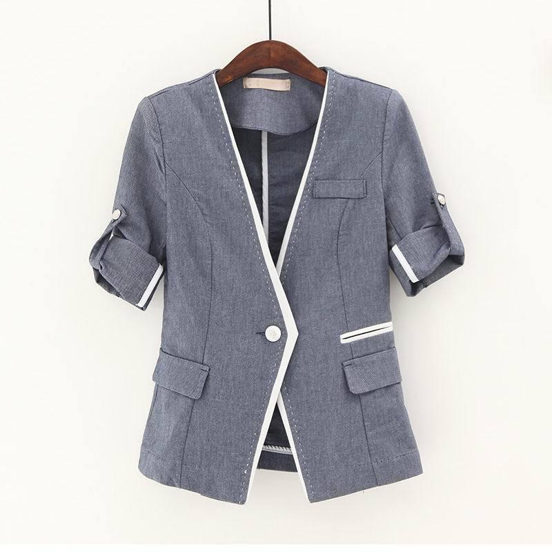Женщин блазер куртка корейской контрастного цвета тонкий женщина пиджак маленький одной кнопки V шеи манжетой рукава синий блейзеры для женщин