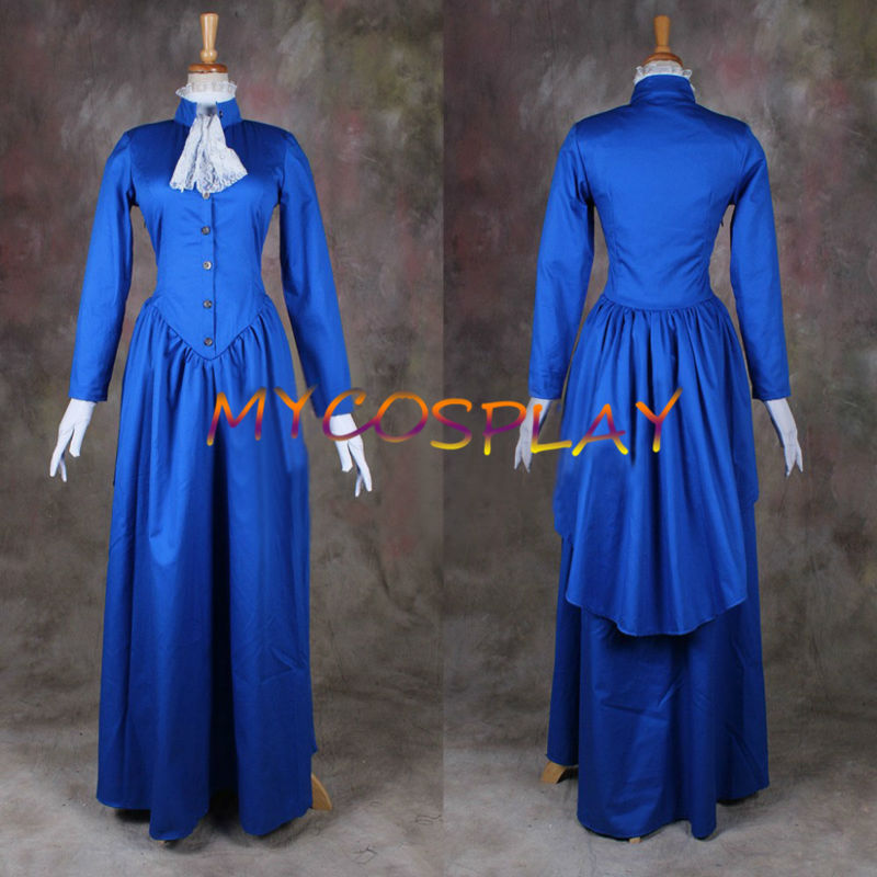 Medieval Dress Plus Size: 2015 Blue Long Sleeves Medieval Dress Gothic Victorian