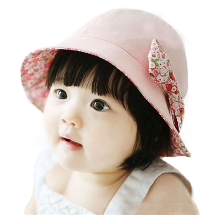 Stylish Fashion 2015 Summer outdoor Children Baby Lace Floral Bowknot Floral Bonnet Hats Sun Bucket Hat