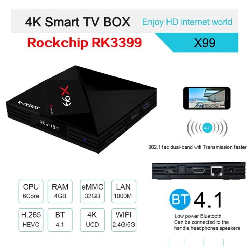 X99 4GB 32GB RK3399 Android 7 1 TV Box, 2 4G5GHz Dual WiFi HD 4K BT4