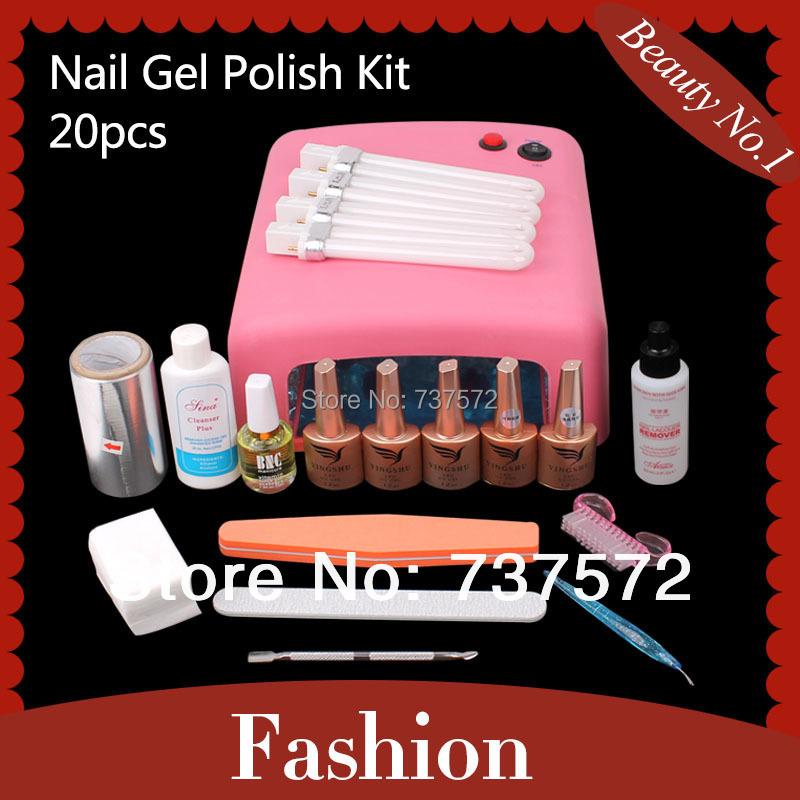 Free Shipping Professional Nail Art Kit Color Uv Gel Full: 36 W UV Lamp Nail Art Pro Soak Off UV Gel Nail Gel Polish