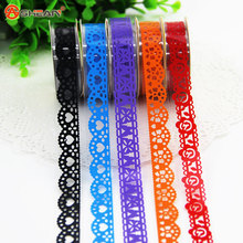 2pcs DIY Candy Colors Hot Lace Tape Decoration Roll Decorative Sticky Paper Masking Tape Self Adhesive Tape