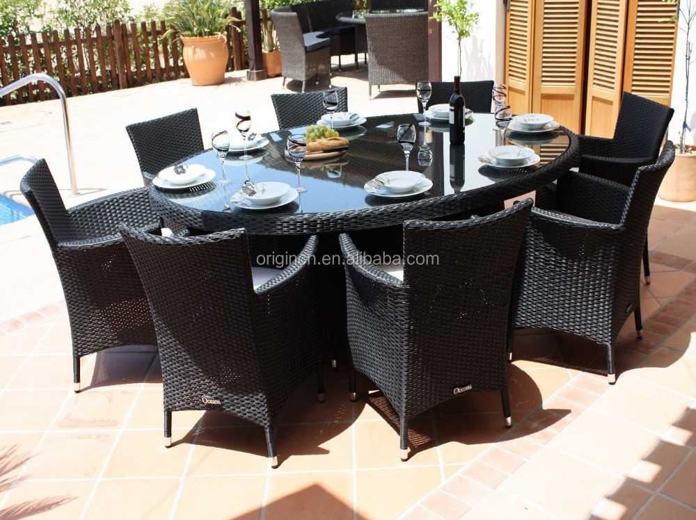 8 Seater Practical Balcony Rooftop Restaurant Oval Rattan Table And Chair Kitchen Dining Room Furniture