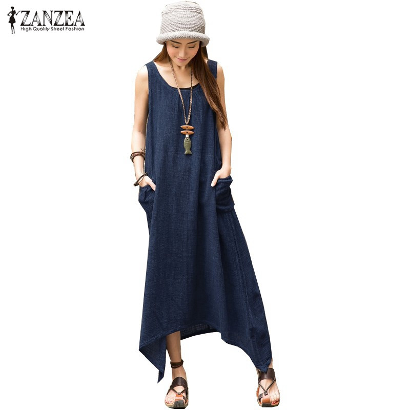4535b94da3 ZANZEA 2017 Summer Boho Women Casual Loose Sleeveless Long Dress Vintage  Pockets Irregular Maxi Dresses Plus Size Vestidos
