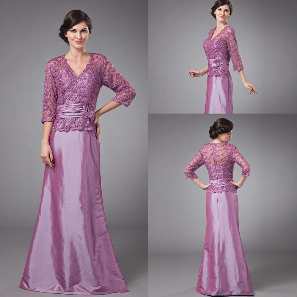 Cheap 3 4 Sleeve Wedding Dresses: Hot Sale Taffeta Cheap Plus Size Purple Mother Of The