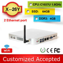 Promotional price !!!  family computer htpc fanless mini pcs x26y c1037u dual nic  4G ram 64g ssd  support Speakers,Plotter