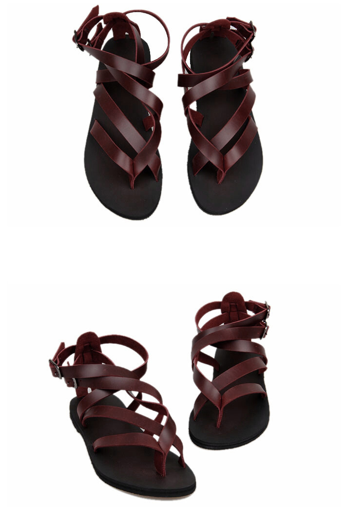 a85daca1 Casual Summer Beach Leather Ankle Strap Cross Tied Gladiator Thongs ...