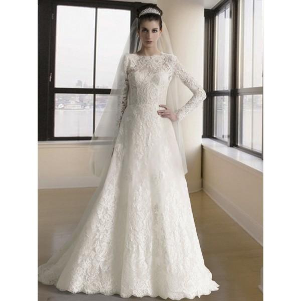 Elegant And Simple Wedding Dresses Long Sleeve Lace: Long Sleeve Lace Wedding Dress For Muslim High Neck