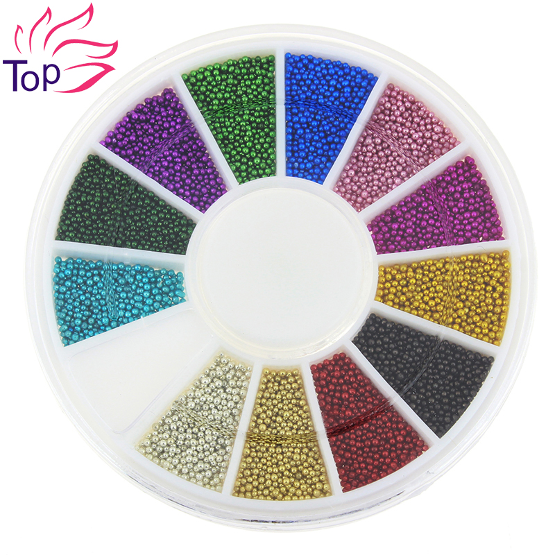 Top Nail 12 Color Steels Beads Studs For Nails Metal Caviar Design Wheel Charms 3D Decorations