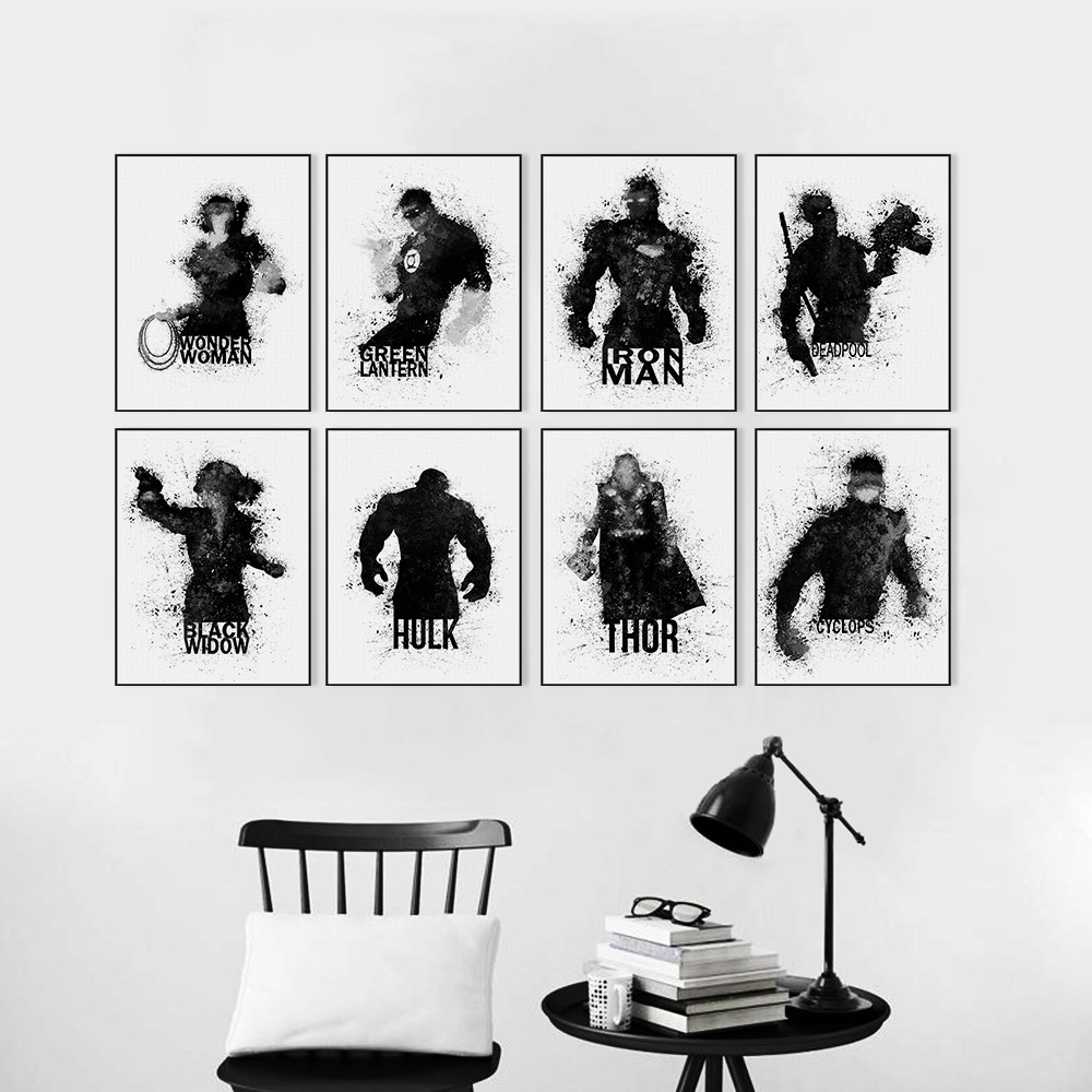 Watercolor Black White Superhero Avenger Infinity War Movie Posters