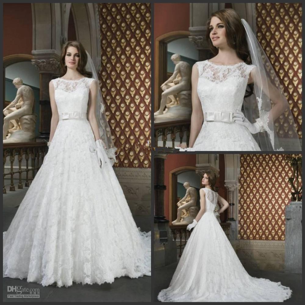 New Modest Sleeveless Bow Belt A Line Lace Vintage Wedding