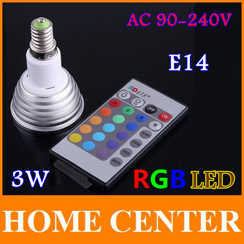 ac 90 240v e14 3w rgb led light bulb 16 colors changing with remote control free shipping with. Black Bedroom Furniture Sets. Home Design Ideas