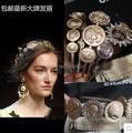 Free shiping 2015 new arrival fashion women headband metal headband with beauty head coin decoration girl