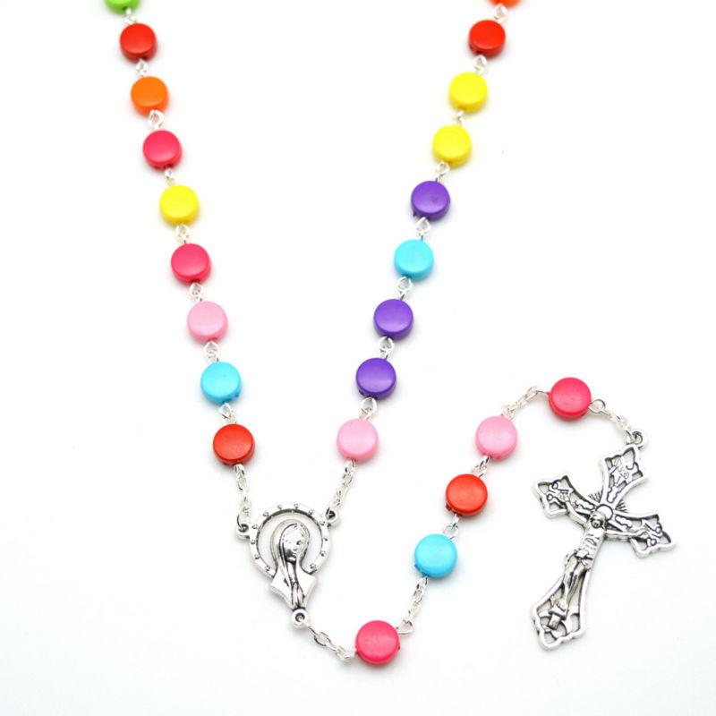 Religious Flat Acrylic: Popular Rainbow Rosary Beads-Buy Cheap Rainbow Rosary
