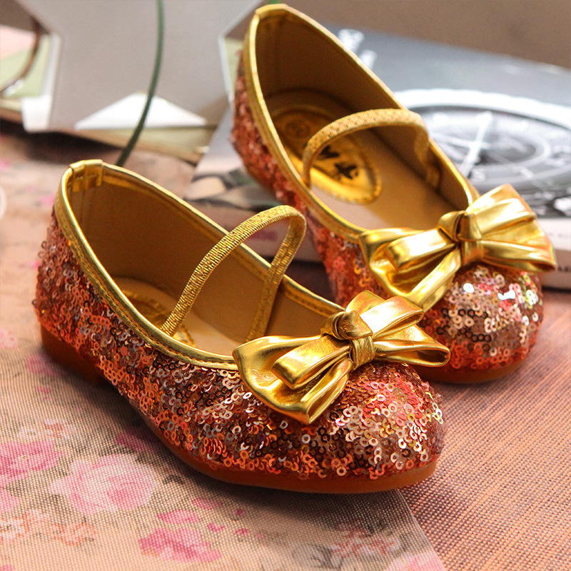 2014 Summer Autumn Cute Bow Sequins Children Shoes Girls Princess Sneakers Child Kids Dance Shoes S0275