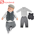 Autumn newborn infant set baby boy gentleman romper three piece toddler suit jackets casual clothes kids