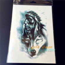 1PC Old Indian Man With Wolf Totem Temporary Tattoo For Men GAQ-H856 ArmBand Body Arm Tatoo Stickers Women Free Shipping