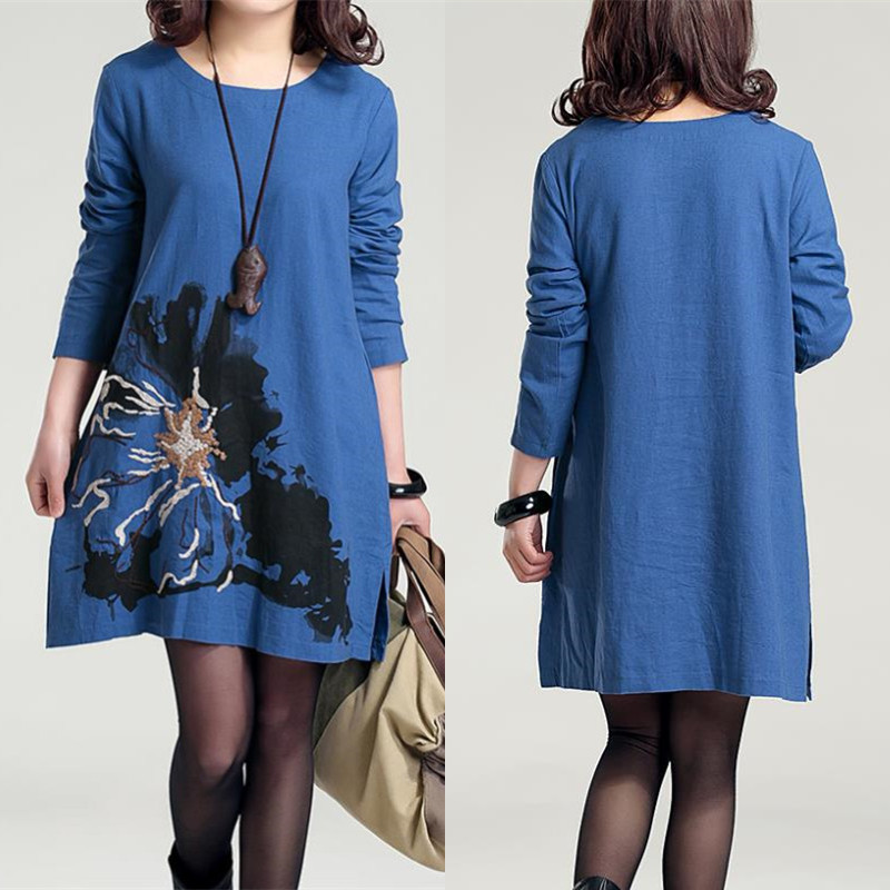 F B Embroidered Cotton Maternity Dress Plus Size Linen Clothes for Pregnant Women Printed Autumn Clothing