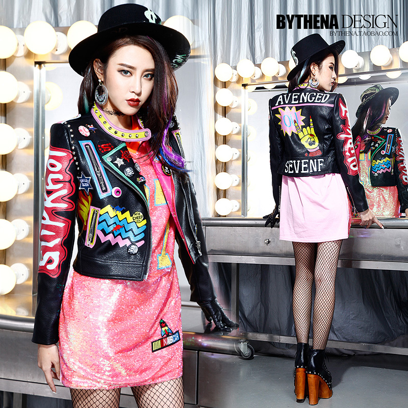 c640b8f4faa5 BringBring 2017 Spring Autumn New Women s Leather Jacket Fashion Letter  Print Pattern Leather Coats Graffiti Crazy Style 1396