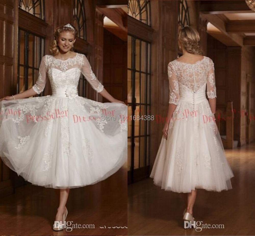 Sapphire Bridal Vintage Wedding Dress 3 4 Sleeve White: High Quality Vintage Crew 3/4 Sleeves Lace Cover Back