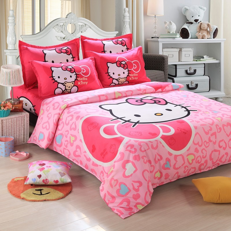 promotion 4pcs cute hello kitty cartoon kids comforter print bedding sets adult queen size. Black Bedroom Furniture Sets. Home Design Ideas