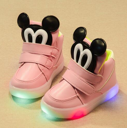 children shoes with light 2016 autumn winter fashion led baby boys girls shoes Kids Soft Bottom