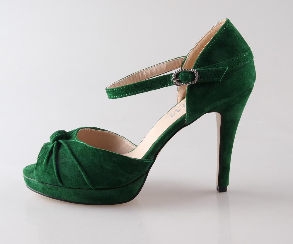 Jade Green Mid Heel Shoes