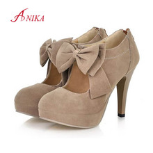 2015 New Plus size 32-43 fashion vintage woman small bowtie platform pumps,ladys sexy high heeled shoes for women