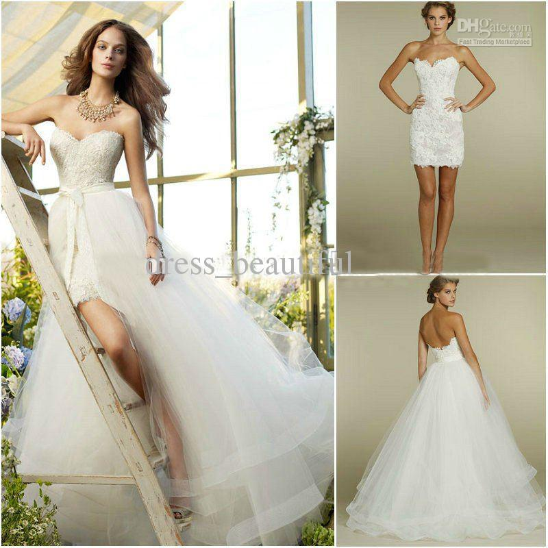 Detachable Trains For Wedding Gowns: NEW Sweetheart Two Piece Design Lace Short/Mini Bridal