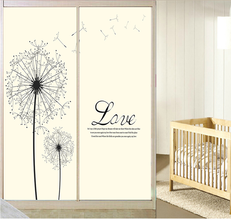 Simple dandelion flower wall stickers home decor for windows screen wall murals closet renew bedroom living room sticker CWCF039