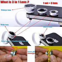 Silver 3 In 1 Universal Clip fisheye camera Mobile Phone Lens Fish Eye+Macro+Wide Angle for iphone 4 5 6 Samsungnote2 3 4 HTC