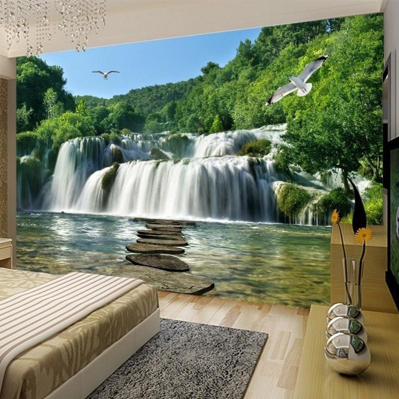Compre Beibehang Custom Photo Wallpaper 3d Cascada Paisaje Mural