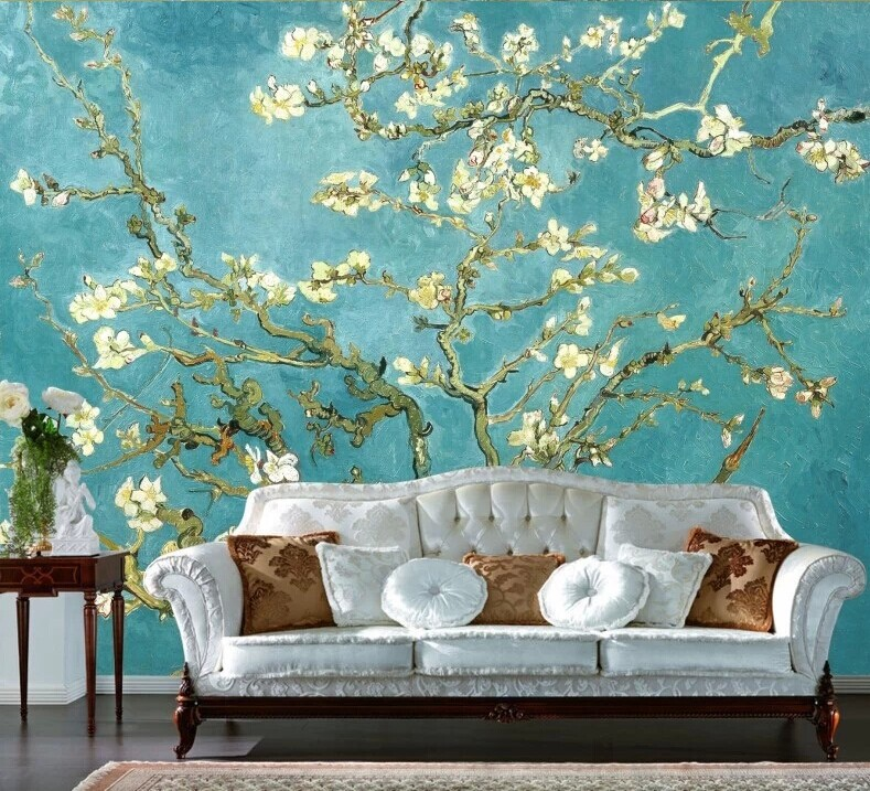 Van Gogh painted personalized custom wallpaper wall painting the living room European style luxury villa home - Japans Behang