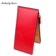 Hot Selling Ultra Thin Women Wallets Soft Waxy Leather Purse Single Zipper Coin Pocket ID Card Holder Ladies Money Bags Carteras