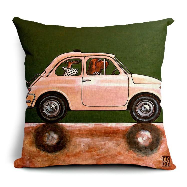 Hot Sale Pillow Lovely Cartoon Dog Driving Car Almofadas