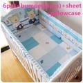 Promotion 6PCS Cute Cradle Bedding Baby Bumper Set 100 Cotton Crib Bumper Sheet For Kids include