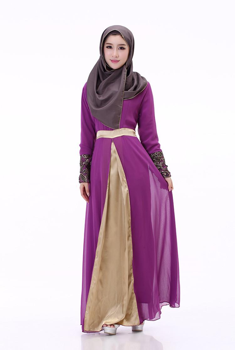 2018 Women Spring Long Sleeve Muslim Maxi Slim Dress