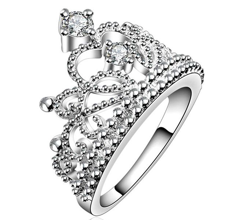 Christmas Gift Silver Plated Vintage Jewelry Aliancas Casamento Austrian Crystal Crown Rings For Women RingsNFSR630