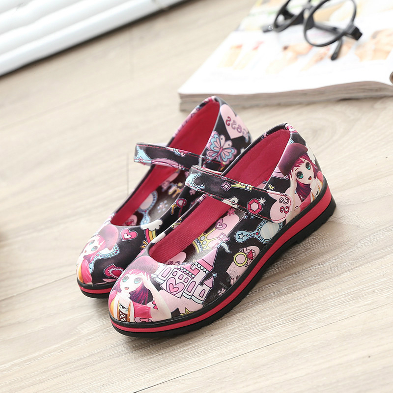 Fashion children shoes 2016 new spring girls leather shoes cartoon princess girls Flats size 26-36 Casual kids shoes sneakers