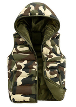 2015 winter Men's & women lovers Korea style outdoor camouflage cotton hooded vests Men Down sleeveless jacket vest waistcoat
