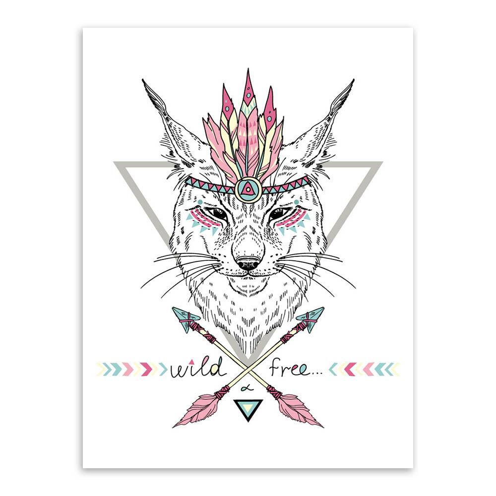 N50 Modern Animal Head Hippie Fashion Print Poster Canvas Painting Home Decor Frameless decorative murals Environmental Family