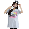 HOT Summer maternity clothes short sleeve printing letters100 knitted cotton shirts for pregnant women large size